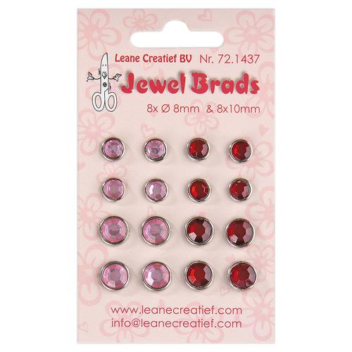 Jewel brads bordeaux / light pink 8x 6mm. & 8x 8mm.