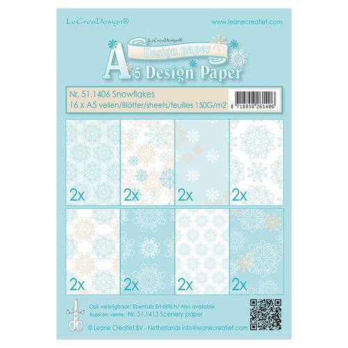 Winter design papier assortiment  Snowflakes blue 16xA5, 150 gr.