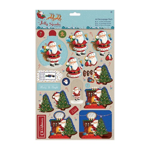 A4 Decoupage Pack - Jolly Santa - Toys