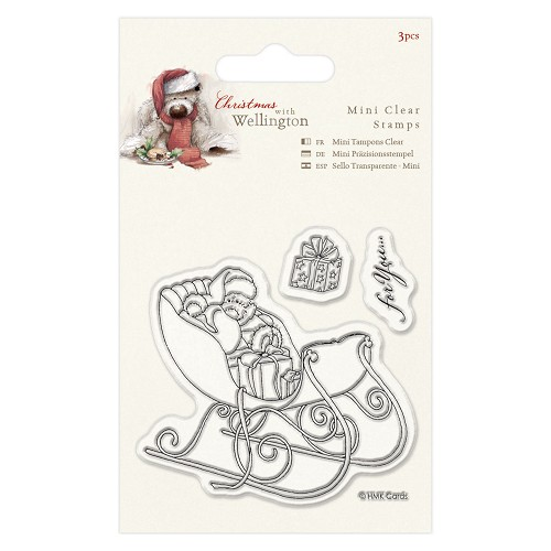 75 x 75mm Mini Clear Stamp (3pcs) - Wellington Christmas - Sleigh