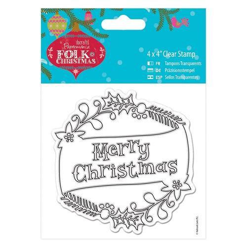4 x 4 Clear Stamp - Folk Christmas - Merry Christmas