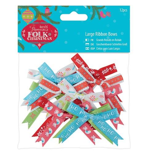 Large Ribbon Bows (12pcs) - Folk Christmas
