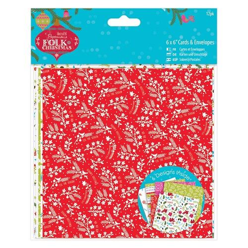 6 x 6 Cards & Envelopes Linen (12pk) - Folk Christmas
