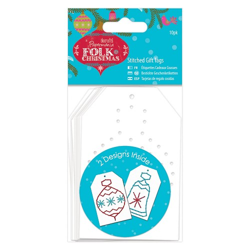 Stitched Gift Tags Linen (10pk) - Folk Christmas