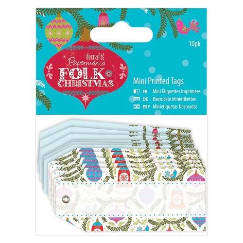 Mini Printed Tags Linen (10pk) - Folk Christmas