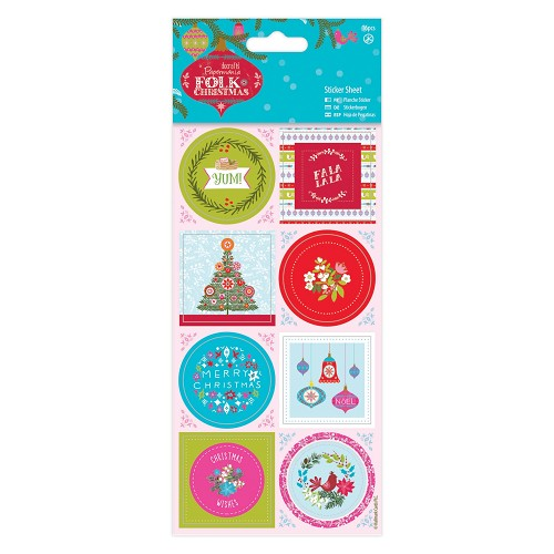Sticker Sheet Linen (16pcs) - Folk Christmas