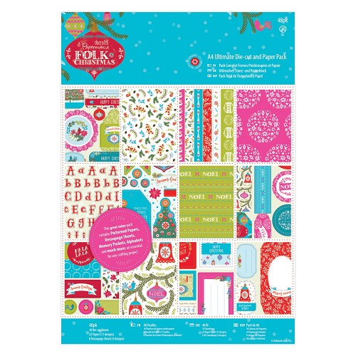 A4 Ultimate Die-cut & Paper Pack Linen (48pk) - Folk Christmas