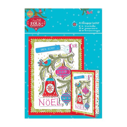 A5 Decoupage Card Kit Linen - Folk Christmas - Noel