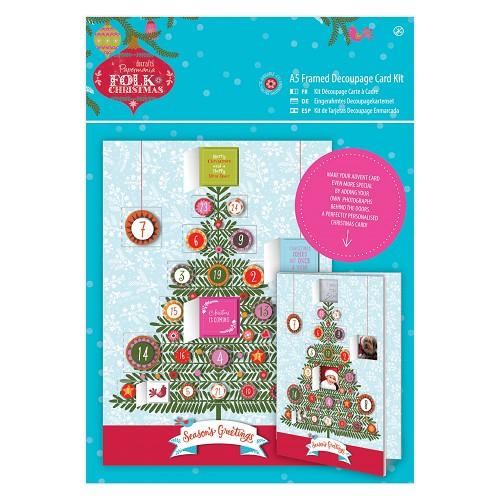 A5 Framed Decoupage Card Kit Linen - Folk Christmas - Advent