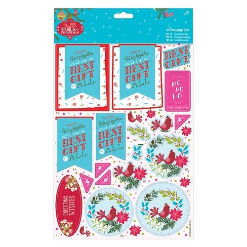 A4 Decoupage Pack Linen - Folk Christmas - Best Gift