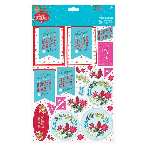A4 Decoupage Pack Linen - Folk Christmas - Best Gift