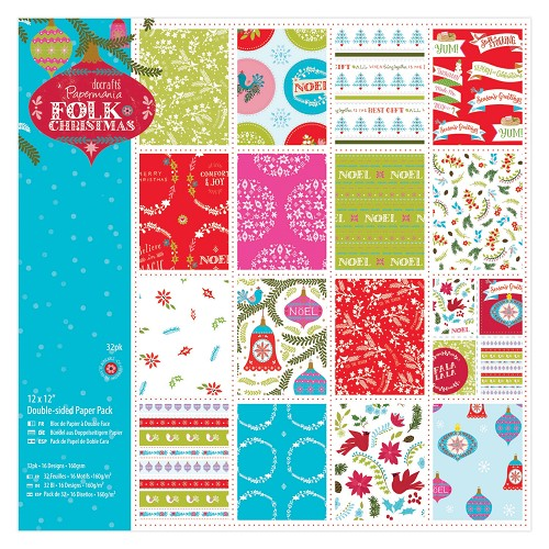 12 x 12 Doubled Sided Paper Pack Linen (32pk) - Folk Christmas