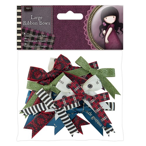 Large Ribbon Bows (12pcs) - Santoro Tweed