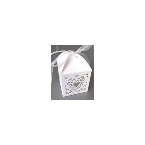 Filigree paper box Heart (10) white