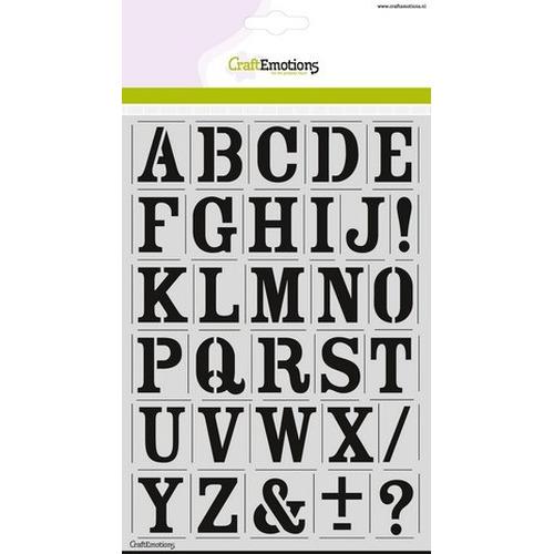 CraftEmotions stencil - alfabet vintage A5 - H=27mm