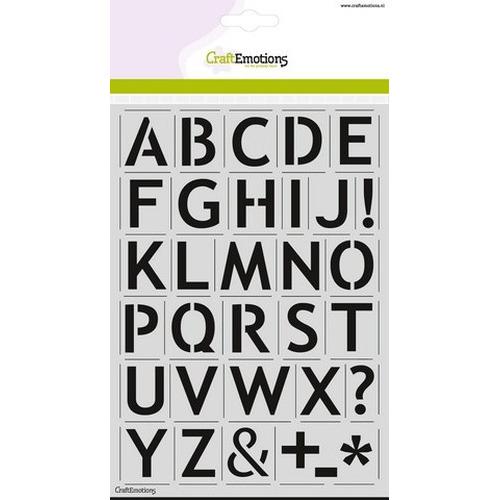 CraftEmotions stencil - alfabet basic A5 - H=27mm
