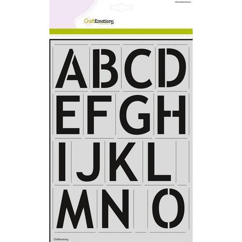 CraftEmotions stencil - alfabet basic 2xA4 - H=57mm