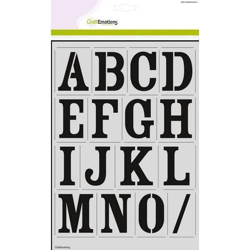 CraftEmotions stencil - alfabet vintage 2xA4 - H=56mm