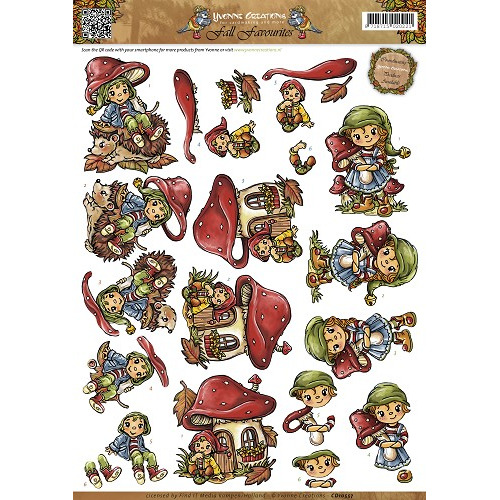 3D Knipvel - Yvonne Creations - Fall Favourites - Sweet Gnomes
