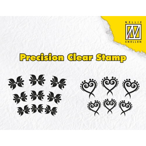 Nellies Choice Clearstempel-Precission Stamps - Lyre flower & butterfly APST022