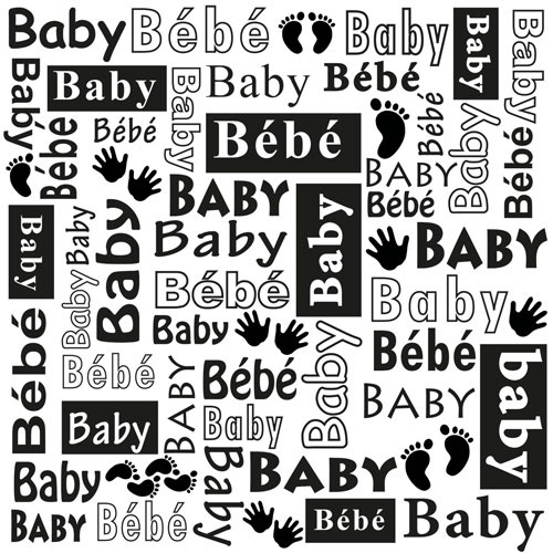 Multi Language Text Embossing Folders - Baby
