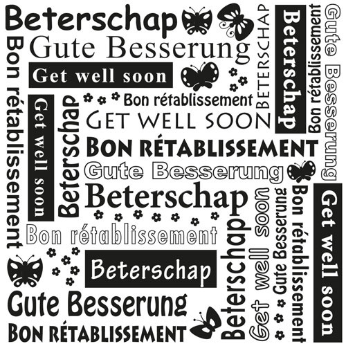 Multi Language Text Embossing Folders - Get well soon