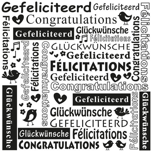 Multi Language Text Embossing Folders - Congratulations