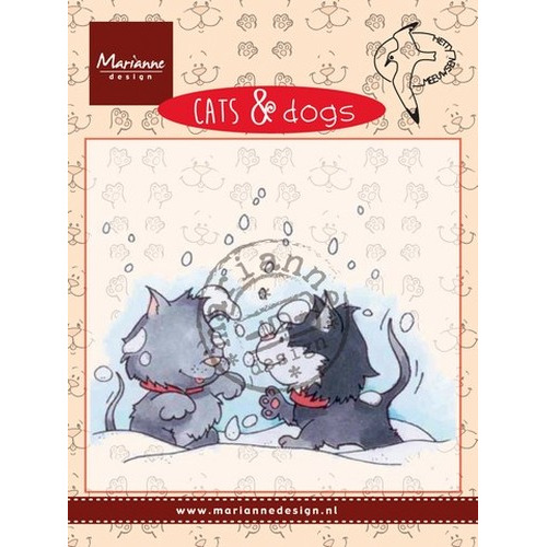Marianne D Clear stamp Cats & dogs - snow fight CD3502 (New 11-15)