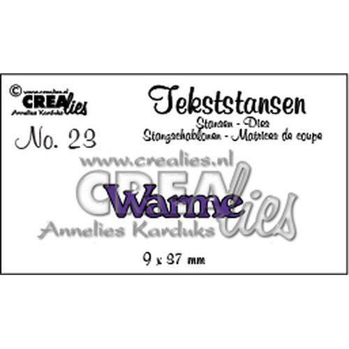 Crealies Tekststans no. 23 Warme (NL) 9x37mm / CLTS23