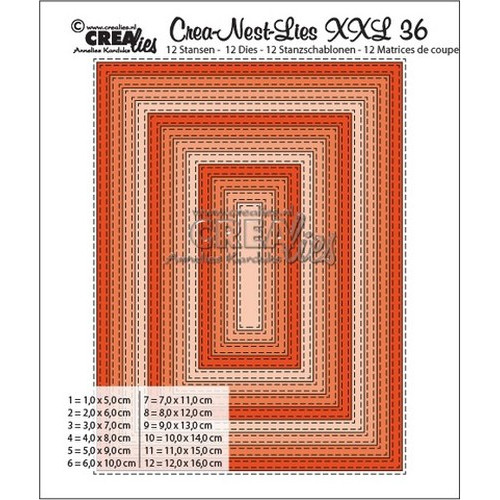 Crealies Double Stitch Rectangle max. 12 x 16 cm / XXL36