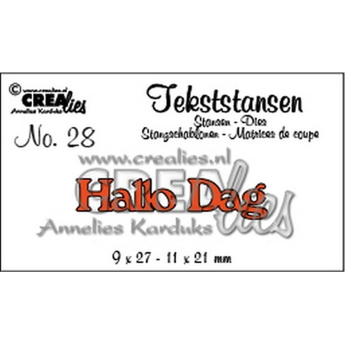Crealies Tekststans no 28 hallo dag (NL) 9 x 27 - 11 x 21 mm / CLTS28