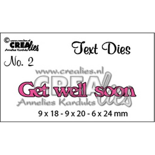 Crealies tekststans (Eng) get well soon 9x18-9x20-6x24mm / CLTD02