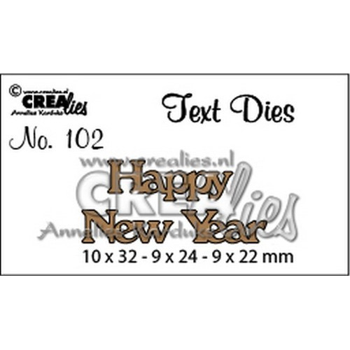 Crealies tekststans (Eng) happy new year 10x32-9x24-9x22mm / CLTD102