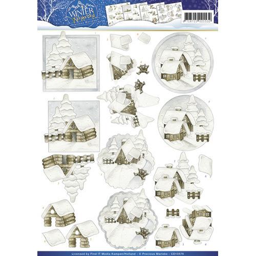 3D Knipvel -  Precious Marieke - Winter Wonderland - Snow cabins