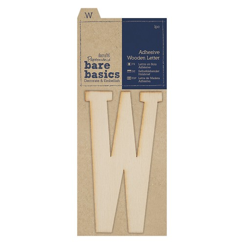 Adhesive Wooden Letter W (1pc)