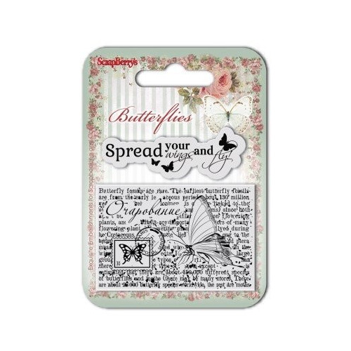 ScrapBerry`s Set Of Clear Rubber Stamps 7x7 cm Butterflies No. 3
