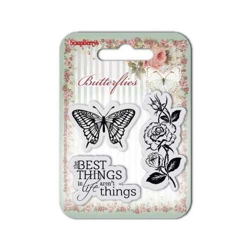 ScrapBerry`s Set Of Clear Rubber Stamps 7x7 cm Butterflies No. 1