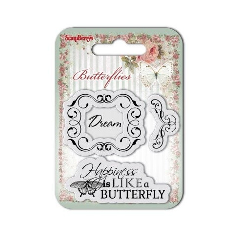 ScrapBerry`s Set Of Clear Rubber Stamps 7x7 cm Butterflies No. 2