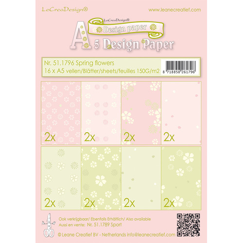 Design papier assortiment  Spring flowers pink/green 16xA5