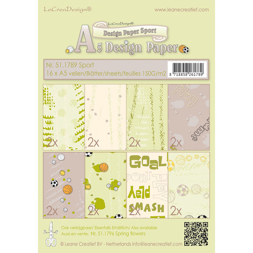 Design papier assortiment  Sport beige/green 16xA5