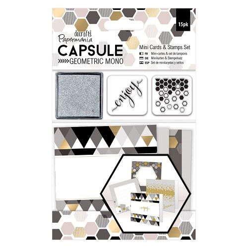Mini Cards & Stamps Set (15pcs) - Capsule -  Geometric Mono