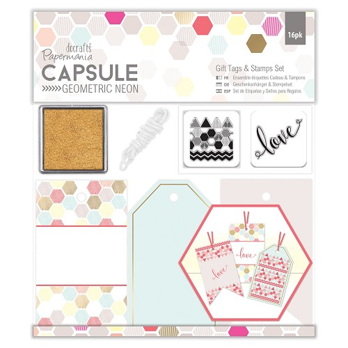 Gift Tags & Stamps Set (16pcs) - Capsule - Geometric Neon