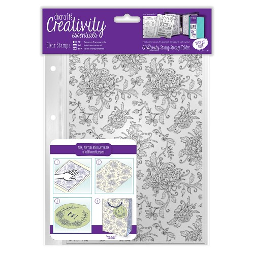 A5 Clear Background Stamp (1pc) - Floral Background