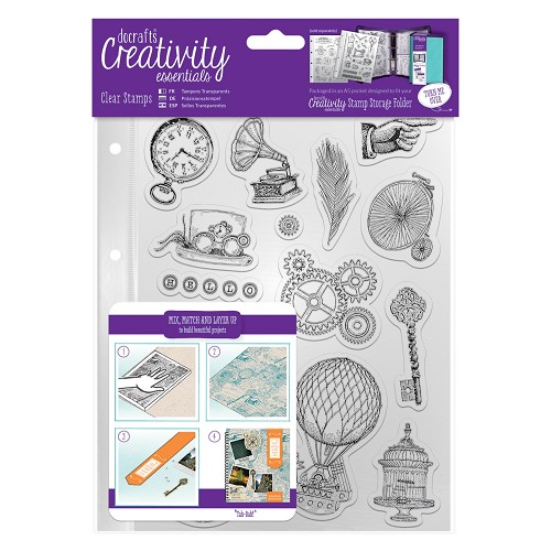 A5 Clear Stamp Set (16pcs) - Steampunk