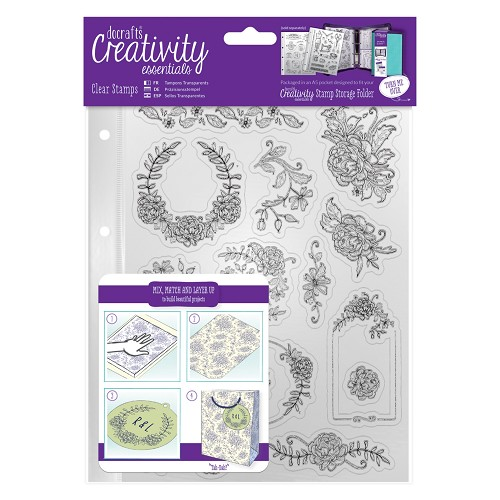A5 Clear Stamp Set (15pcs) - Floral Icons
