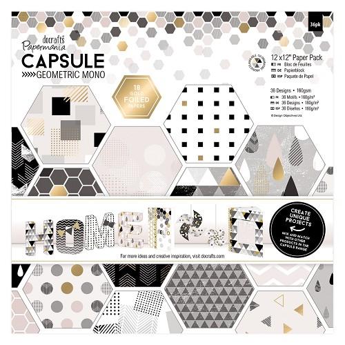 12 x 12 Paper Pack (36pk) - Capsule - Geometric Mono