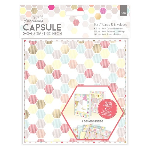6 x 6 Cards & Envelopes (12pk) - Capsule - Geometric Neon