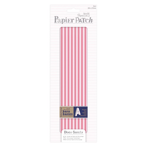 Deco Sheets (3pcs) - Papier Patch - Red Stripes
