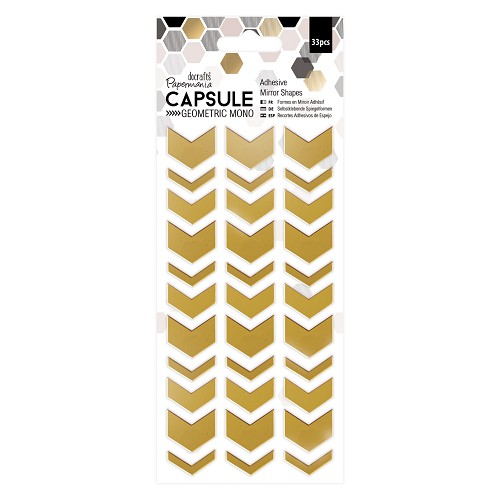 Adhesive Mirror Shapes (33pcs) - Chevrons - Capsule -  Geometric Mono