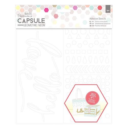 Adhesive Stencils (3pcs) - Capsule - Geometric Neon